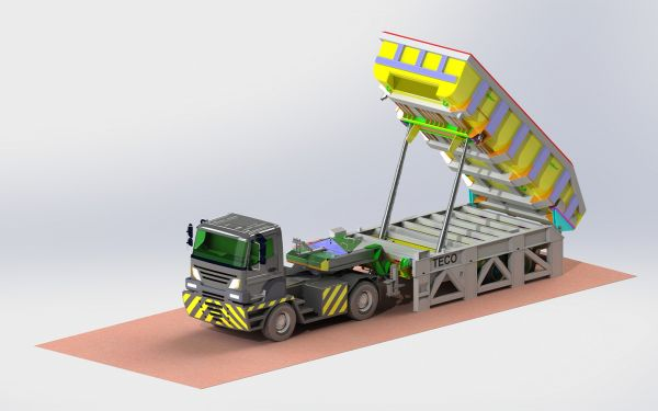 Pallet Lifttrailer at dumping position