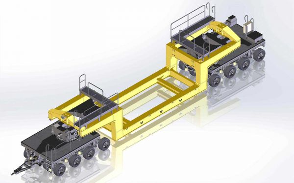 Heavy duty trailer modules with side beam bridge, Payload 100t